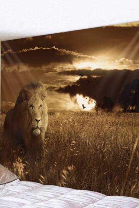 Fabric Wall Tapestry/Throw Sunset Lion 79 x 59 Inches