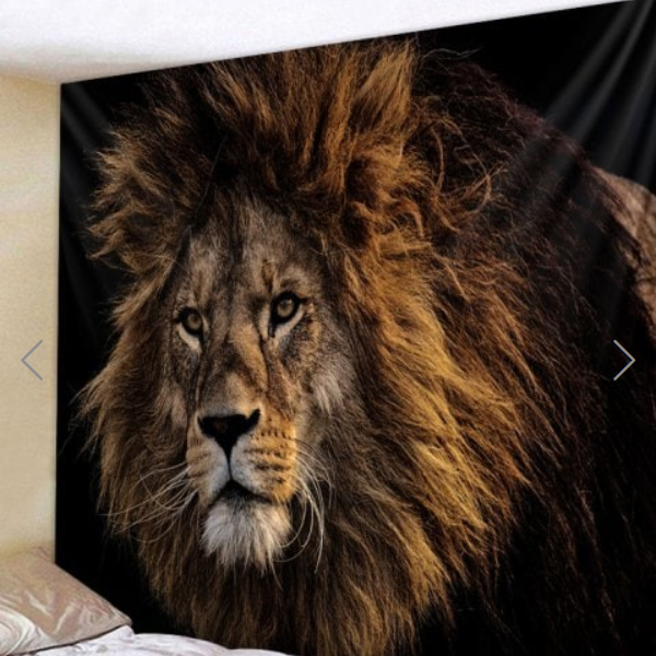 Fabric Wall Tapestry/Throw Proud Lion 59 x 51 inches