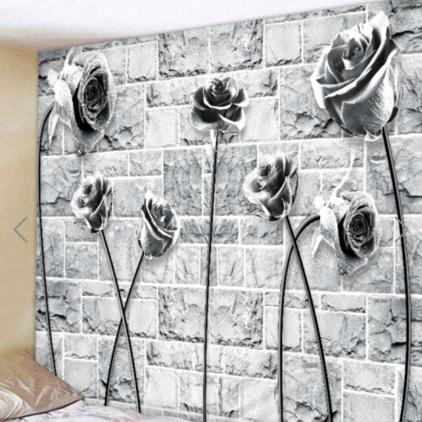 Fabric Wall Tapestry/Throw Stone and Roses 79 x 59 Inches