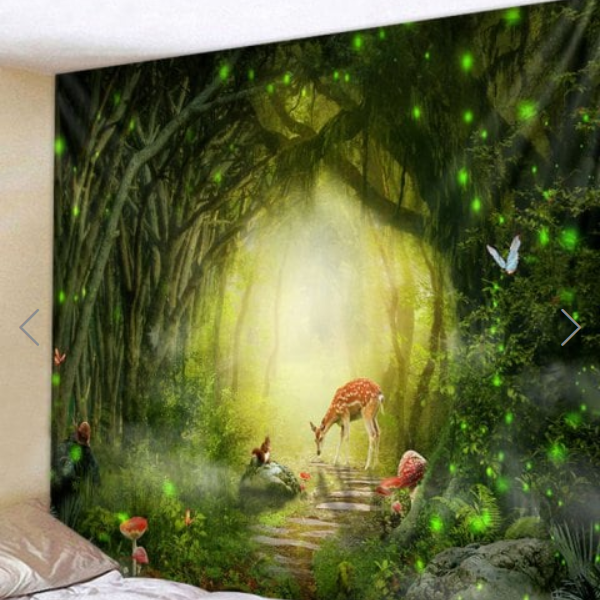 Fabric Wall Tapestry/Throw Forest Path Deer and Butterflies 59 x 51 Inches